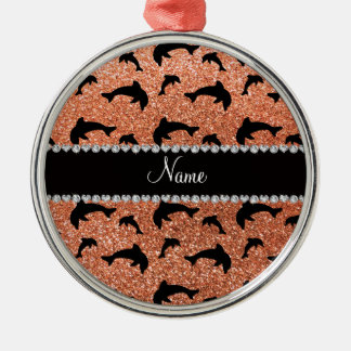 Personalized name pastel orange glitter dolphins ornament