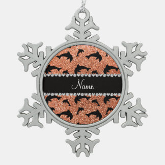 Personalized name pastel orange glitter dolphins ornaments