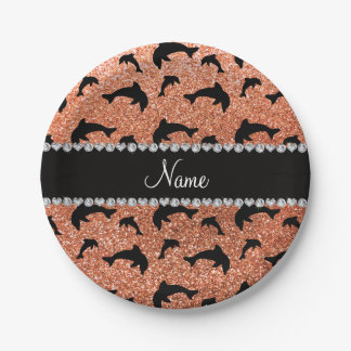 Personalized name pastel orange glitter dolphins 7 inch paper plate