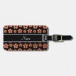 Personalized name pastel orange glitter flowers tag for luggage