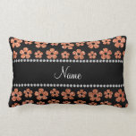 Personalized name pastel orange glitter flowers throw pillows