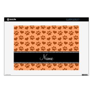 "Personalized name pastel orange hearts and paw pri 13"" laptop skin"