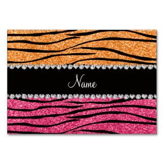Personalized name pastel orange pink glitter zebra card