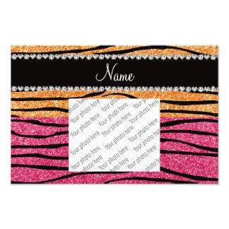 Personalized name pastel orange pink glitter zebra photo