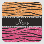 Personalized name pastel orange pink glitter zebra square sticker