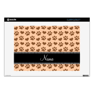 """Personalized name pastel peach hearts and paw 13"""" laptop skins"""