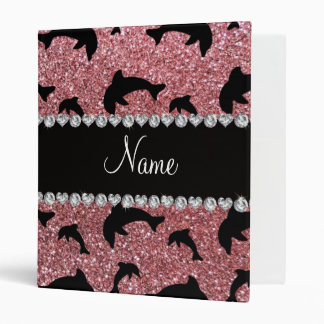 Personalized name pastel pink glitter dolphins vinyl binder
