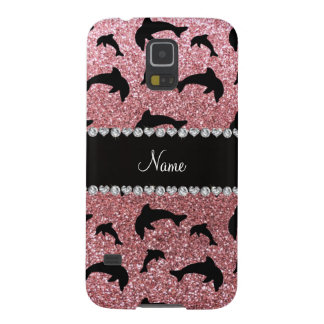 Personalized name pastel pink glitter dolphins galaxy nexus cover