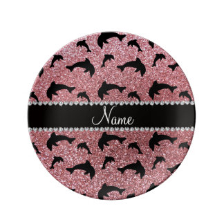 Personalized name pastel pink glitter dolphins porcelain plates
