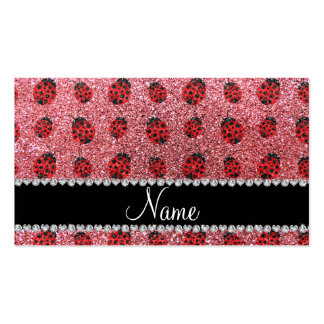 Personalized name pastel pink glitter ladybug business card