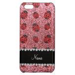 Personalized name pastel pink glitter ladybug iPhone 5C cases
