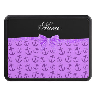 Personalized name pastel purple anchors bow trailer hitch cover