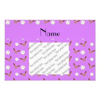 Personalized name pastel purple baseball photo print