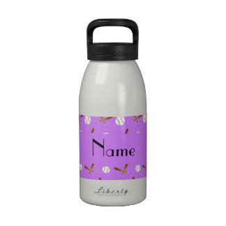 Personalized name pastel purple baseball drinking bottles