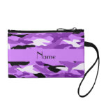 Personalized name pastel purple camouflage coin wallet