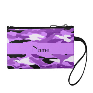 Personalized name pastel purple camouflage coin purse