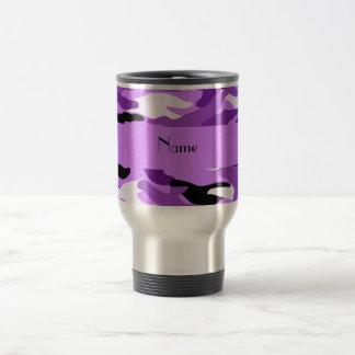Personalized name pastel purple camouflage coffee mug