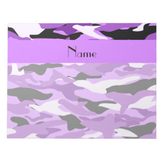Personalized name pastel purple camouflage notepad
