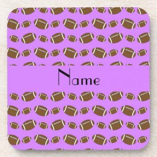 Personalized name pastel purple footballs drink coaster