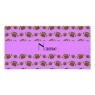Personalized name pastel purple footballs custom photo card