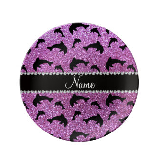 Personalized name pastel purple glitter dolphins porcelain plates