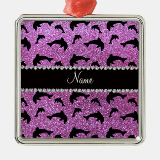 Personalized name pastel purple glitter dolphins ornament