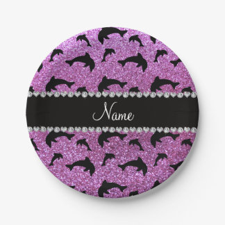 Personalized name pastel purple glitter dolphins paper plate