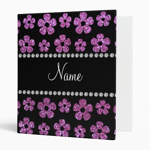Personalized name pastel purple glitter flowers 3 ring binders