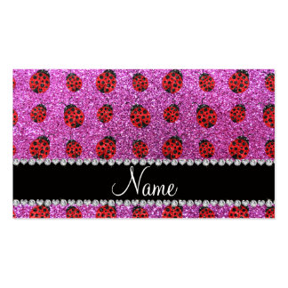 Personalized name pastel purple glitter ladybug business card template