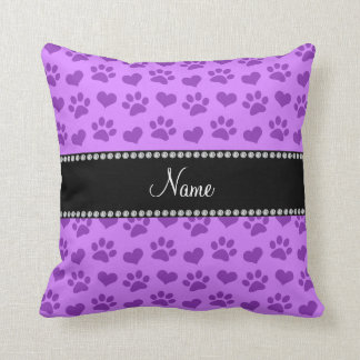 Personalized name pastel purple hearts and paws throw pillow