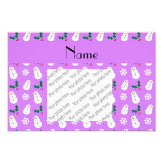 Personalized name pastel purple snowman christmas art photo