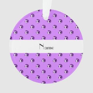 Personalized name pastel purple soccer balls ornament