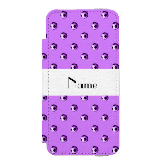 Personalized name pastel purple soccer balls wallet case for iPhone SE/5/5s