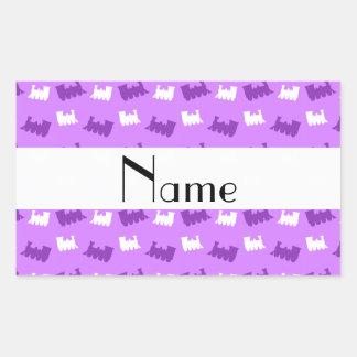 Personalized name pastel purple train pattern rectangular sticker