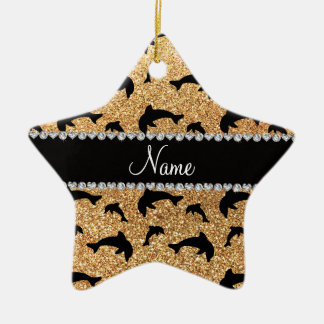 Personalized name pastel yellow glitter dolphins christmas ornaments