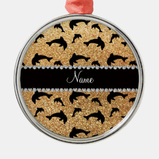 Personalized name pastel yellow glitter dolphins christmas ornament