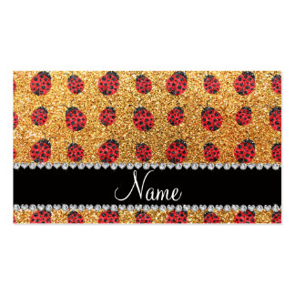 Personalized name pastel yellow glitter ladybug business cards
