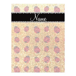Personalized name pastel yellow glitter ladybug custom flyer