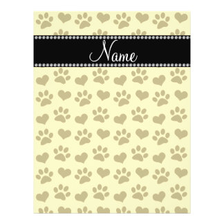 Personalized name pastel yellow hearts and paws flyers