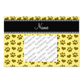 Personalized name pastel yellow hearts and paws art photo