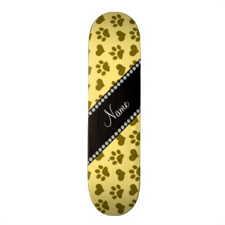 Personalized name pastel yellow hearts and paws skateboard