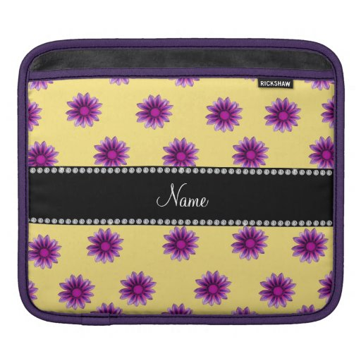 Personalized name pastel yellow purple pink flower sleeve for iPads