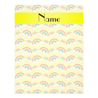 Personalized name pastel yellow rainbows pattern flyer