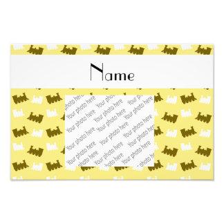 Personalized name pastel yellow train pattern photographic print