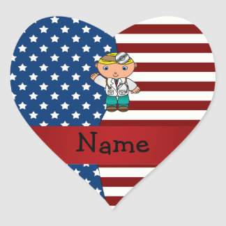 Personalized name Patriotic doctor Heart Stickers