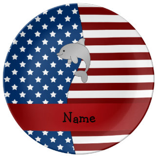 Personalized name Patriotic dolphin Porcelain Plate