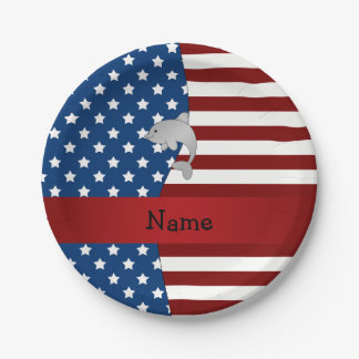 Personalized name Patriotic dolphin 7 Inch Paper Plate
