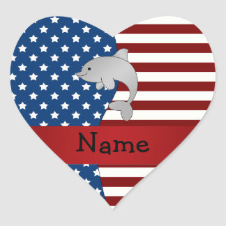 Personalized name Patriotic dolphin Heart Sticker