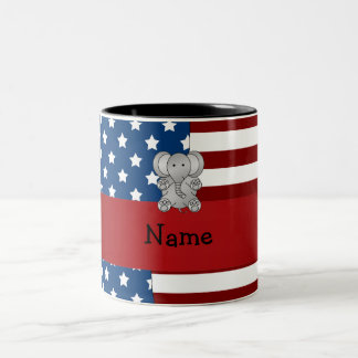 Personalized name Patriotic elephant Coffee Mugs