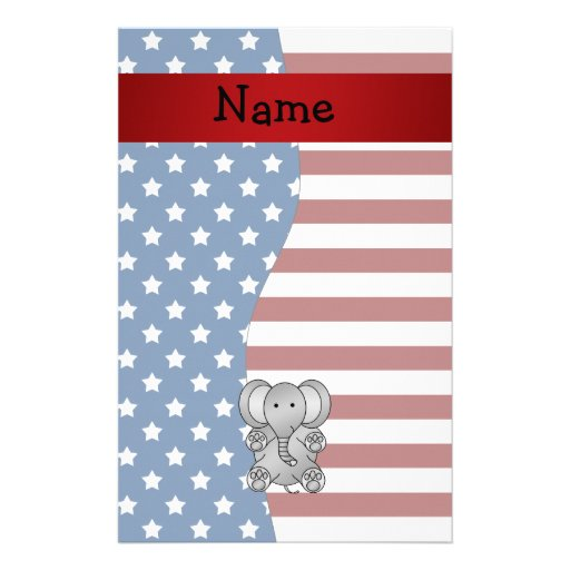 Personalized name Patriotic elephant Personalized Stationery